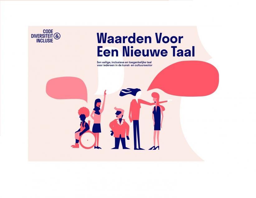 Titelpagina publicatie Waarden voor een nieuwe taal met tekening van zes mensen die symbool staan voor diversiteit